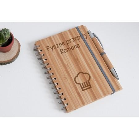 """Notes bambusowy personalizowany """"Pyszne przepisy Romana"""""""