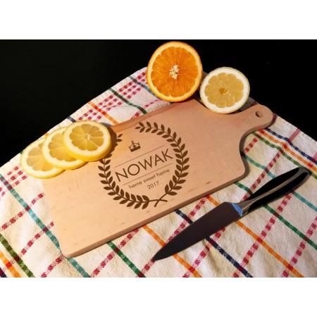 Deska kuchenna - Home sweet home z własnym nazwiskiem