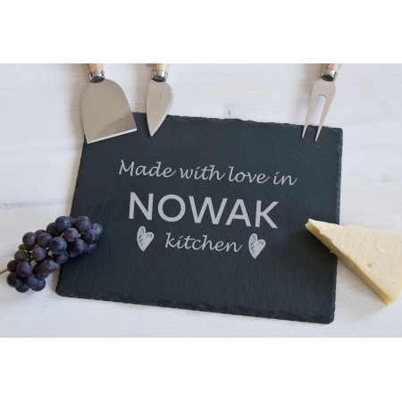 "Deska do serów z akcesoriami ""Made with love in NOWAK kitchen"""