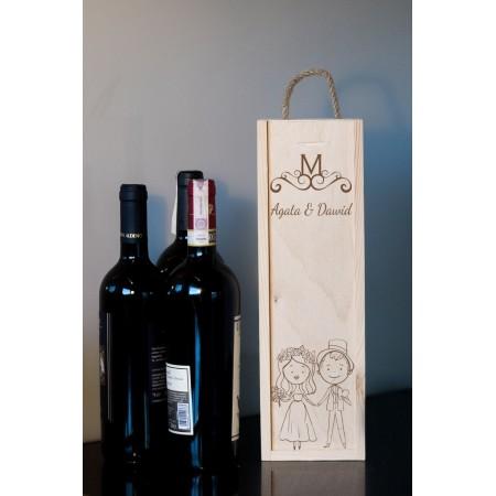 Ozdobne pudełko na wino z grawerem ZA RĄCZKĘ
