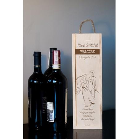 Ozdobne pudełko na wino z grawerem ŚLUB