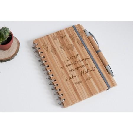 """Notatnik świąteczny bambusowy """"Zeszyt ze świątecznymi przepisami babci Halinki"""""""