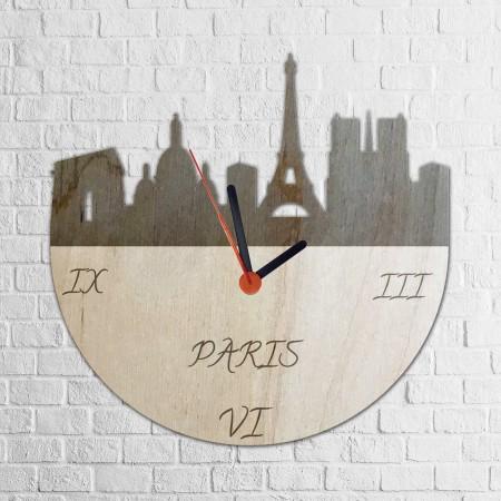 Grawerowany drewniany zegar z motywem PARYŻA