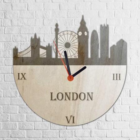 Grawerowany drewniany zegar z motywem LONDYNU