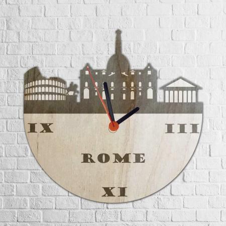 Grawerowany drewniany zegar z panoramą RZYMU