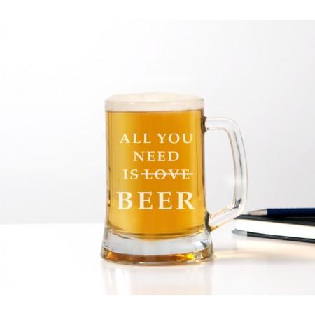 Kufel do piwa 'All You need is beer' dla mężczyzny