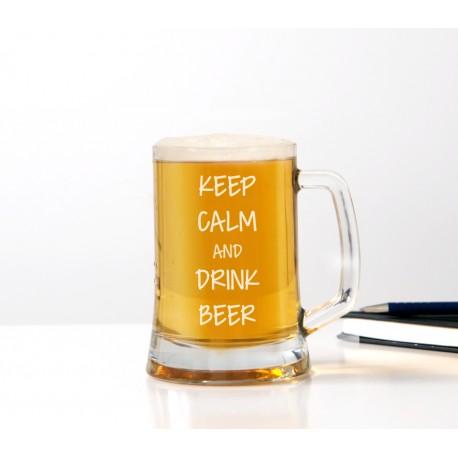 Kufel do piwa 'Keep calm and drink beer' dla mężczyzny