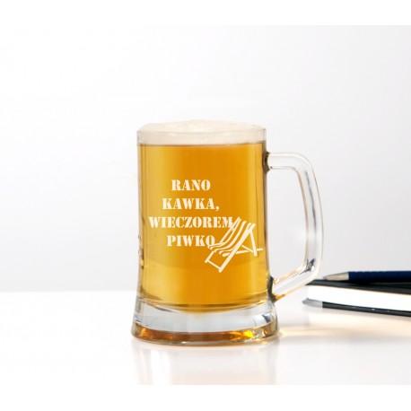 Kufel do piwa 'Rano kawka, wieczorem piwko' dla mężczyzny