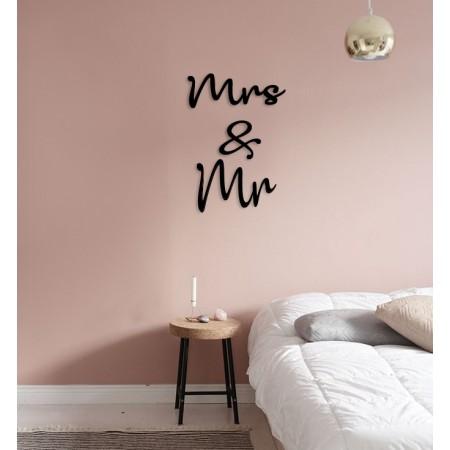 MRS & MR - napis na ścianę, ozdoba 3D, dekoracja mieszkania, wystrój wnętrz
