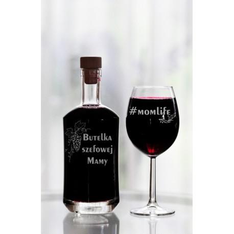 """Zestaw karafka z kieliszkiem do wina -""""Butelka szefowej mamy - momlife"""""""