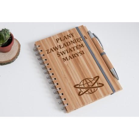 """Notatnik bambusowy """"Plany zawładnięcia światem Marysi"""""""