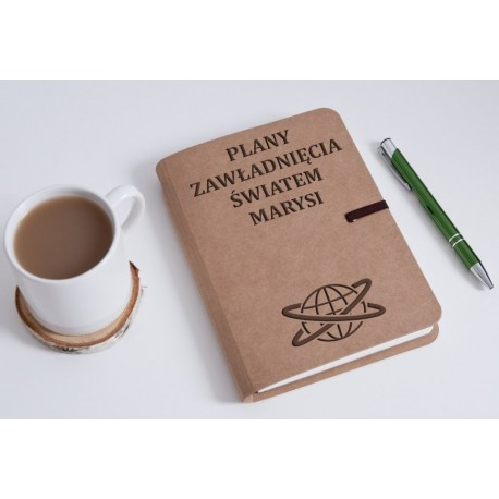 """Notatnik tekturowy """"Plany zawładnięcia światem Marysi"""""""