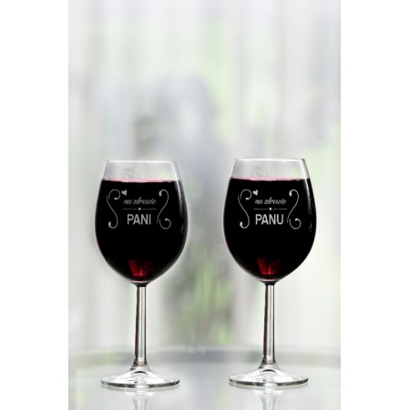 """Komplet kieliszków do wina dla pary """"Na zdrowie Pani/Panu"""""""