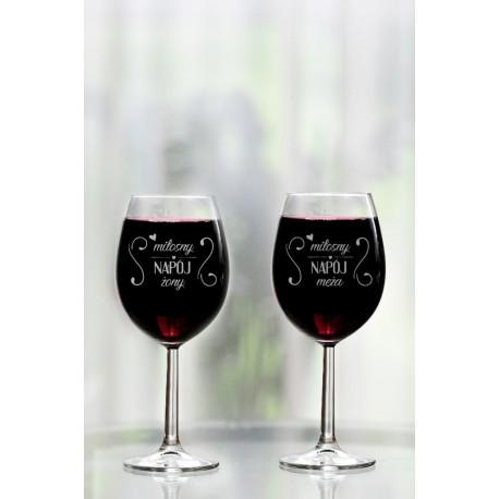"""Komplet kieliszków do wina """"Miłosny napój żony/męża"""""""