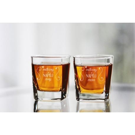 """Komplet szklanek do whisky dla małżeństwa """"Miłosny napój żony/męża"""""""