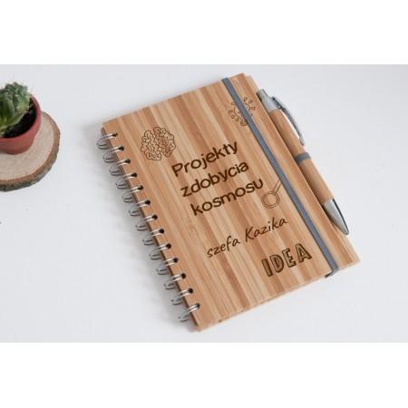 """Notes bambusowy szefa """"Projekty zdobycia kosmosu"""""""